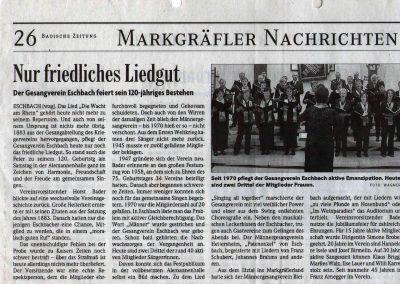 Badische Zeitung Oktober 2003